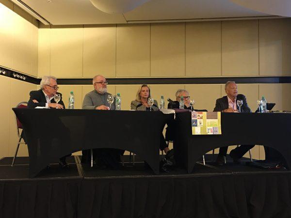 During the panel: Joaquín Pichon-Rivière, Juan Tubert-Oklander, Lea Setton, Roberto Losso, David Scharff